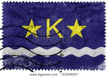 Flag Of Kinshasa, Democratic Republic Of The Congo, Old Postage Stamp