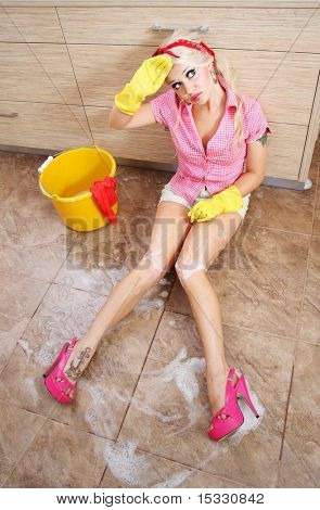 Cute tired cleaner, similar available in my portfolio