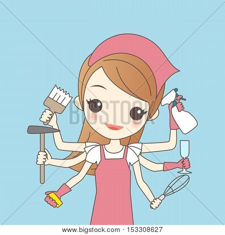 cartoon housewife do housework great for your design
