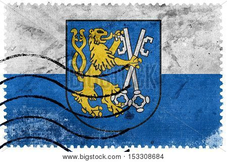 Flag Of Legnica With Coat Of Arms, Poland, Old Postage Stamp