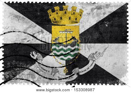 Flag Of Lisbon With Coat Of Arms, Portugal, Old Postage Stamp