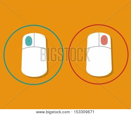 computer mouse with right click and left click finger sign vector illustration