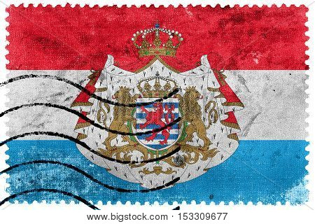 Flag Of Luxembourg With Coat Of Arms, Old Postage Stamp