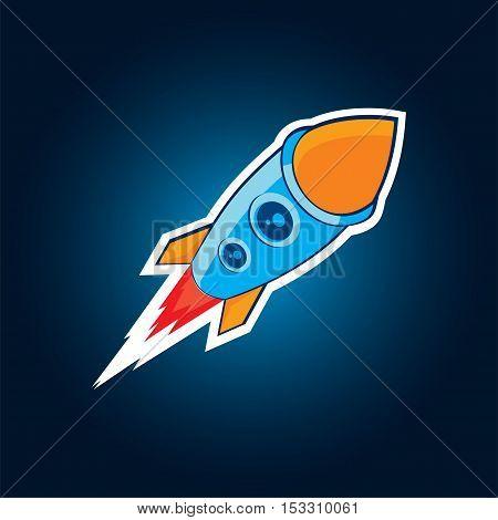 Vector galactic rocket Flat style eps10 jpg