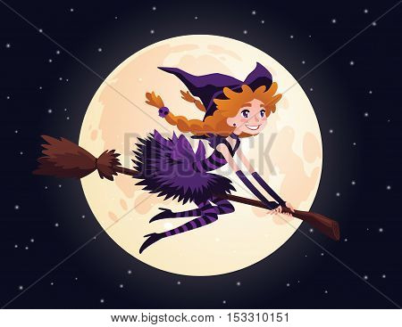 Cute redhead witch flying on a broom and smiling. Vector illustration of little Halloween Witch in flat cartoon style on a starry sky with Moon. Element for your design, prints and greeting card.