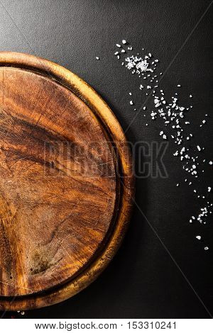 Wooden Dish on Black Background
