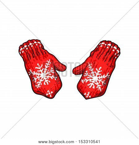 Pair of bright red winter knitted mittens with snowflakes, sketch style vector illustrations isolated on white background. Hand drawn woolen mittens with knitted snoflakes, winter accessory