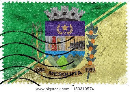 Flag Of Mesquita, Rio De Janeiro, Brazil, Old Postage Stamp