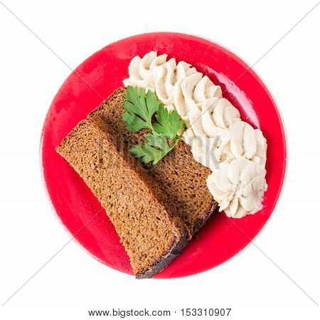 Rye bread with minced pork fat and garlic as a ukrainian starter. Isolated on a white background.