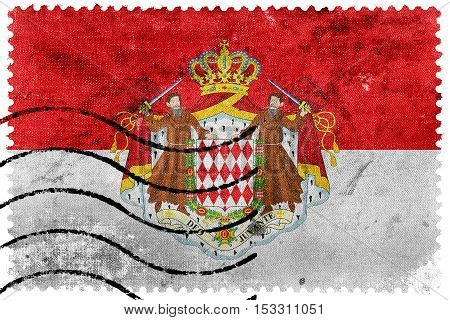 Flag Of Monaco With Coat Of Arms, Old Postage Stamp