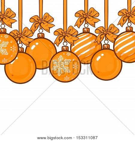 Gold Christmas balls with gold ribbon and bows, sketch style vector template for greeting card. Frame or border of hanging blue Christmas decoration balls - solid, striped and with snowflake ornament