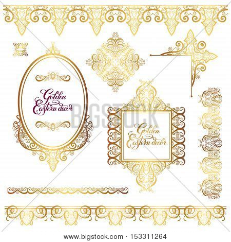 set of floral golden eastern decor frame elements, paisley pattern collection for wedding invitation, birthday greeting card, packaging, party flayer and other design, calligraphy vector illustration