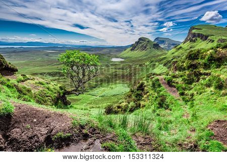 Beautiful View From Quiraing In Isle Of Skye, Scotland, United Kingdom