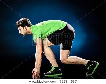man runner running jogger isolated