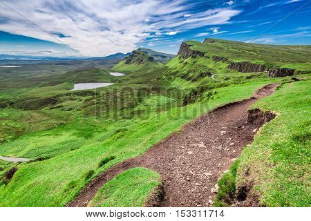 Quiraing To Valley In Scotland At Summer, United Kingdom