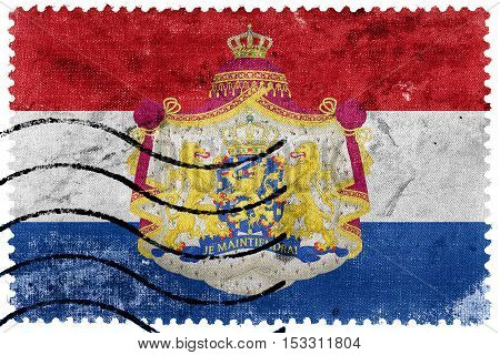 Flag Of Netherlands With Coat Of Arms, Old Postage Stamp