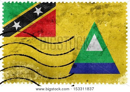Flag Of Nevis, Saint Kitts And Nevis, Old Postage Stamp
