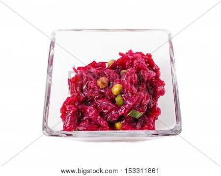Beetroot salad with green peas and scallions. Isolated on a white background.
