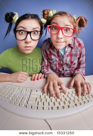 Zwillings-Schwestern am computer