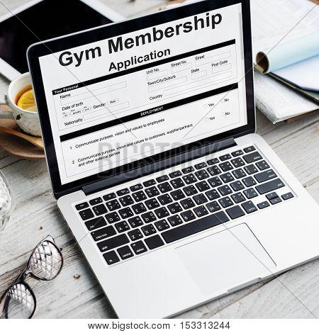 Gym Membership Application Form Request Concept