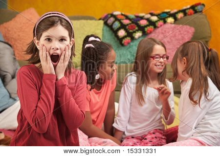 Shocked Little Girl At Sleepover