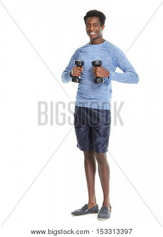 African American man with dumbbells.