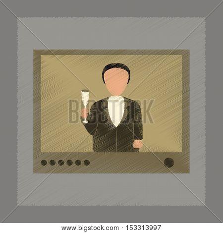 flat shading style icon of President on TV