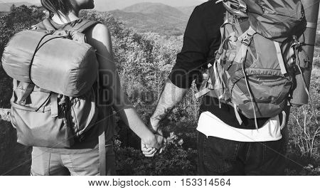 Travelers Couple Love Happiness Concept
