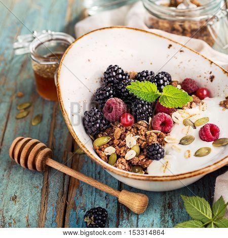 Muesli and fresh fruit for breakfast. Healthy breakfast ingredients.
