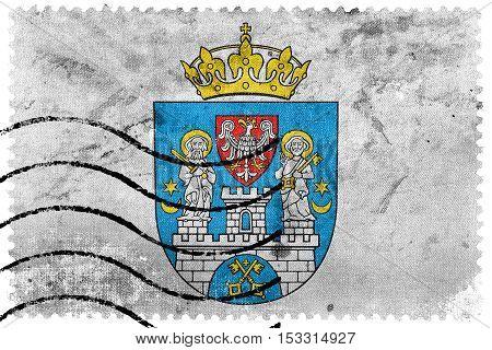 Flag Of Poznan, Poland, Old Postage Stamp