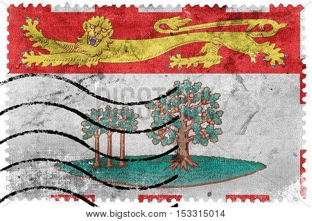 Flag Of Prince Edward Island Province, Canada, Old Postage Stamp