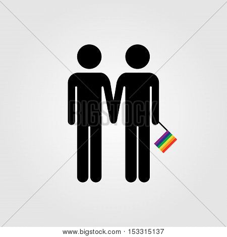 Gay couple with LGBT rainbow flag vector icon gay marriage
