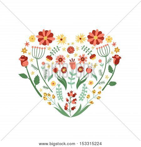 Floral and plant cartoon heart vector illustration. Vintage colors.