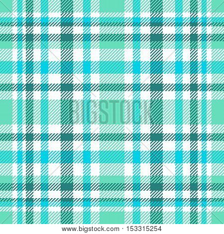 Seamless tartan plaid pattern. Dark green, aqua, blue and white check. Traditional textile plaid checkered texture. Modern colors version of seamless Scottish plaid backgrounds.