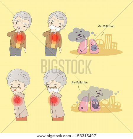 cartoon old people with air pollution great for your design