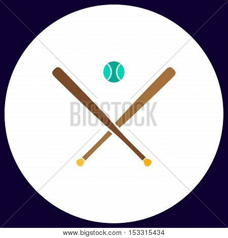 baseball Simple vector button. Illustration symbol. Color flat icon
