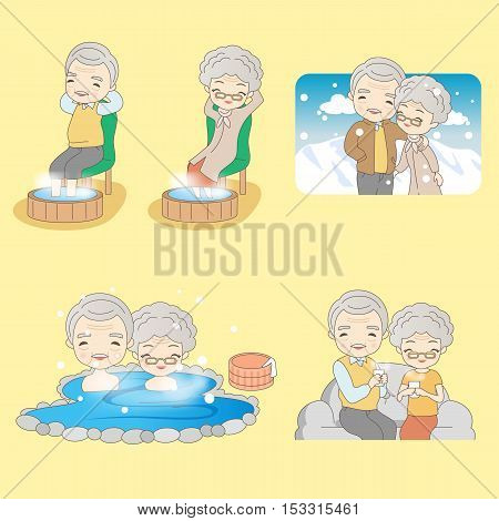 cartoon old couple get warm great for your design