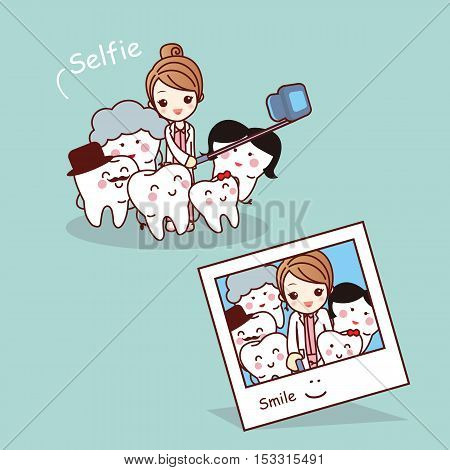 Happy cartoon tooth family take selfie with dentist great for health dental care concept