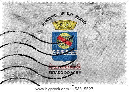 Flag Of Rio Branco, Acre, Brazil, Old Postage Stamp