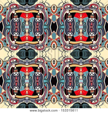 original seamless square composition with abstract painting can be used for silk bandanna print, carpet design, pillow pattern, neckerchief fabric and other, vector illustration