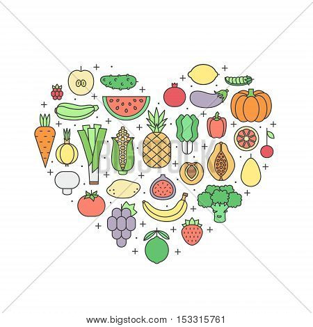 Fruit and vegetable multicolored outline vector heart illustration. Clean and simple design.