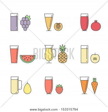Fruit and vegetable smoothie (juice) in glasses outline vector set. Menu element for cafe or restaurant. Healthy drink. Part two.