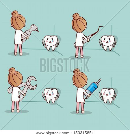 cartoon fear tooth with dentist and dental equipment great for health dental care concept