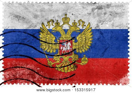 Flag Of Russia With Coat Of Arms, Old Postage Stamp