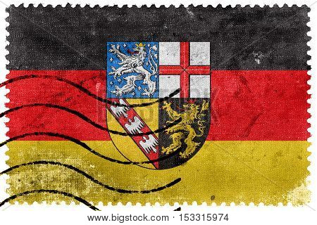 Flag Of Saarland, Germany, Old Postage Stamp