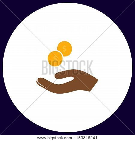 beggar Simple vector button. Illustration symbol. Color flat icon