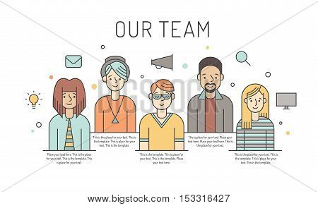 Multicolored vector work team illustration (women and men). Business design concept. Clean and simple design. Part one.