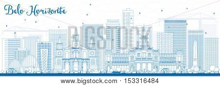 Outline Belo Horizonte Skyline with Blue Buildings. Vector Illustration. Business Travel and Tourism Concept with Modern Architecture. Image for Presentation Banner Placard and Web Site.