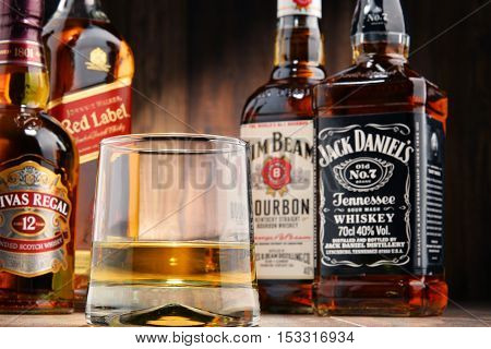 POZNAN POLAND - OCT 12 2016: Whiskey is the most popular liquor in the world. Originated probably in Ireland now it is produced also in India Scotland USA Canada and Japan with over 230 millions of 9 liter cases sold in 2014