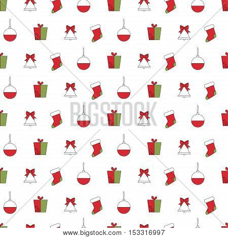 Seamless pattern with gift, christmas ball, bell and sock.Seamless pattern included in swatch panel.Vector background.